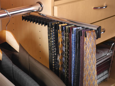 Closet Organizers - Custom Closet Accessory - Pull Out Tie Rack